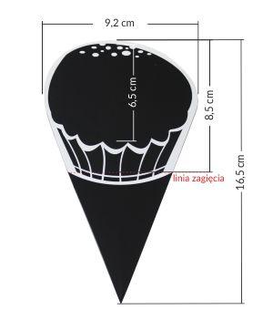 Etykiety kredowe  w kształcie BABECZKI czarne z białym nadrukiem