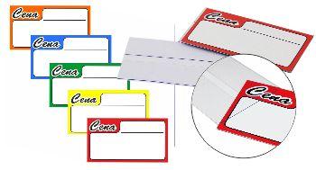 Cenówki - metki cenowe wykonane z biało/szarego kartonu o gramaturze 230g, dostępne z czerwonym, zielonym, niebieskim, pomarańczowych i żółtym nadrukiem.