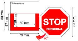 """Shelfstopper półkowy wykonany z wysoko - przezroczystego PCV o grubości 0,3 mm, doskonały """"zatrzymywacz"""" przy produktach mających atrakcyjną cenę i hitach cenowych"""
