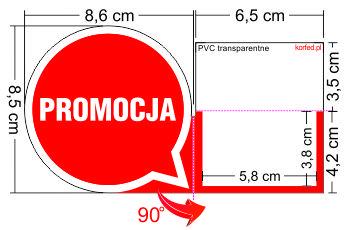 """Shelfstopper półkowy wykonany z wysoko - przezroczystego PCV o grubości 0,3 mm, doskonały """"zatrzymywacz"""" przy produktach mających atrakcyjną cenę i hitach cenowych. Fiszki cenowe przystosowane do standardowej listwy 39 mm."""