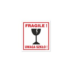 Naklejki UWAGA SZKŁO - FRAGILE  ! 8x7,5cm