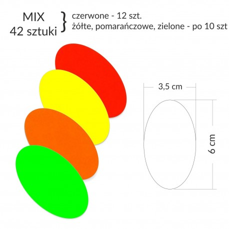 Owale samoprzylepne MIX-kolor (42 sztuki)