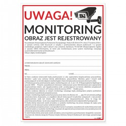 MONITORING + informacja RODO 25x35cm -tabliczki