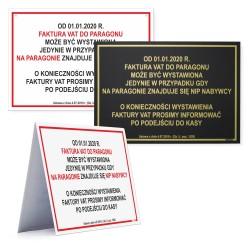 FAKTURA VAT DO PARAGONU 17,5x25cm -tabliczki