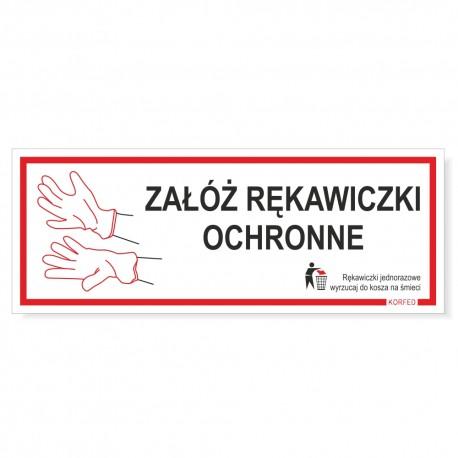 ZAŁÓŻ RĘKAWICZKI / MASECZKĘ OCHRONNĄ -tabliczki 21x8cm