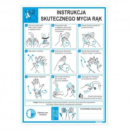 Instrukcje obrazkowe MYCIA I DEZYNFEKCJI RĄK - tabliczki A4