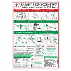 ZASADY BEZPIECZEŃSTWA podczas epidemii - tablice 35x50 cm