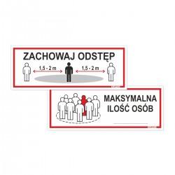 ZACHOWAJ ODSTĘP / MAKSYMALNIE OSÓB -tabliczki 21x8cm