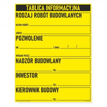 TABLICE BUDOWLANE - INFORMACYJNE, BIOZ wg. ustawy z 13.02.2020 r.