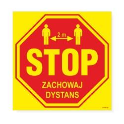 Naklejki ostrzegawcze - STOP - ZACHOWAJ DYSTANS