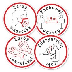 Naklejki - oznakowania epidemiczne COVID - kółko śr. 10 cm