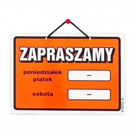 Wywieszki laminowane na drzwi ZAPRASZAMY A5