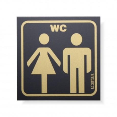 Oznakowanie WC 8x8cm - tabliczki czarno-złote