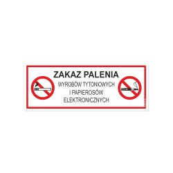ZAKAZ PALENIA wyrobów tytoniowych i e-papierosów 21x8cm