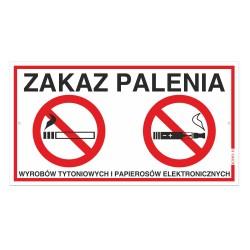 ZAKAZ PALENIA wyrobów tytoniowych i e-papierosów 30x16,5cm tabliczki