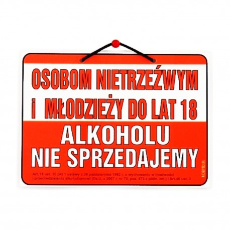 Wywieszki laminowane OSOBOM NIETRZEŹWYM ALKOHOLU NIE SPRZEDAJEMY A5