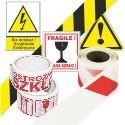Taśmy i naklejki ostrzegawcze