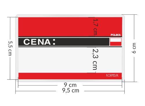 Cenówki - etykiety laminowane produkt Polski z flagą