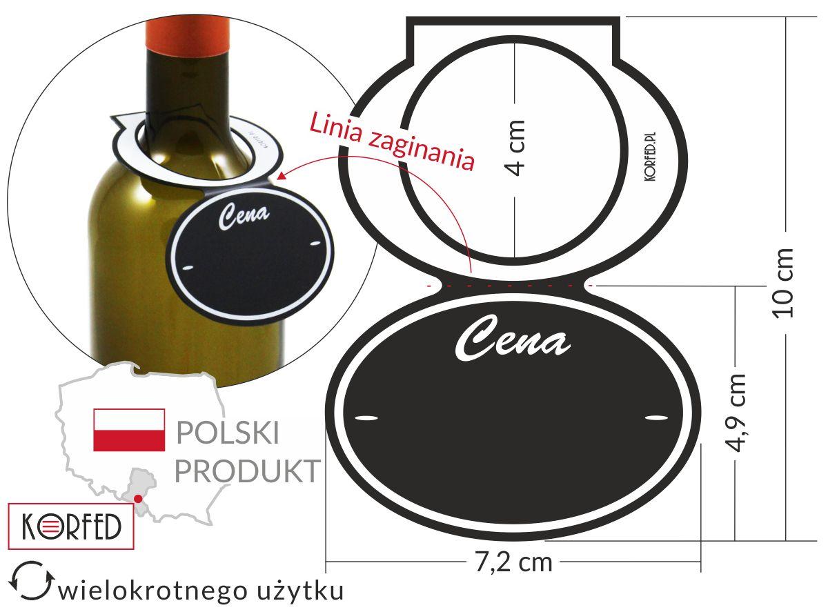 kredowe cenówki - czarne etykiety na butelkę