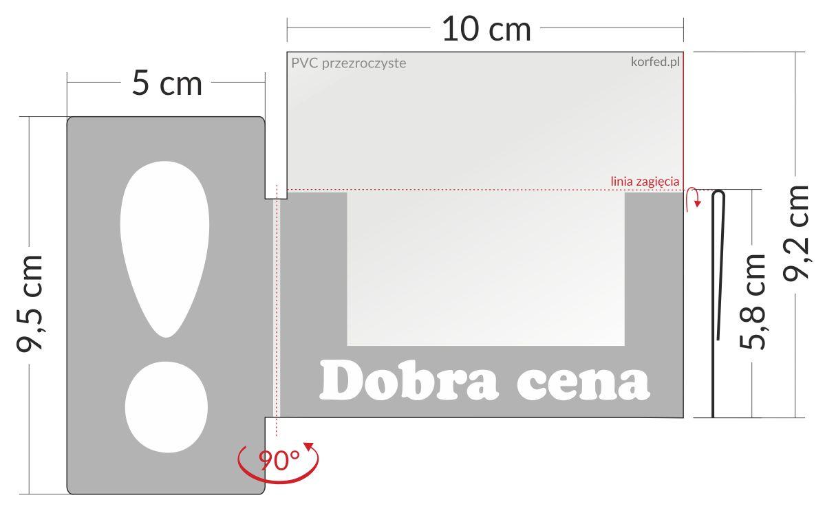 shelfstopper reklamowy wymiary - przezroczyste osłonki na listwy cenowe ze skrzydełkiem z wykrzyknikiem stoppery