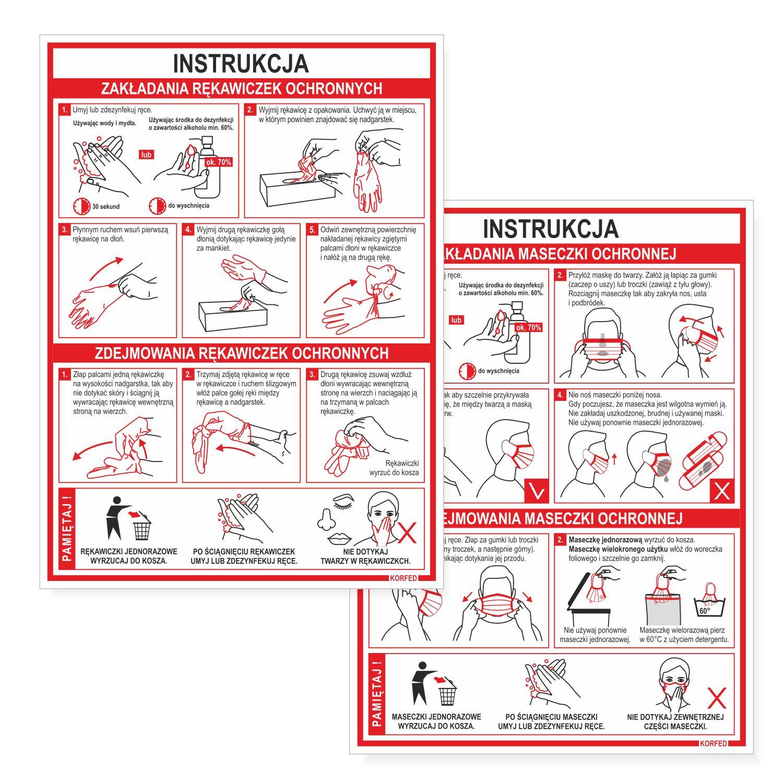 Ilustrowane instrukcje A4 jak poprawnie używać: nakładać, zakładać, nosić i zdejmować rękawiczki jednorazowe ochronne oraz maseczki antywirusowe, które nalezy stosować podczas pandemii COVID-19. Tabliczki plastikowe są wodoodporne. Instrukcje obrazkowe opracowane na podstawie instrukcji publikowanych przez WHO, ECDC, Ministerstwo zdrowia i Główny Inspektorat Sanitarny (sanepid).