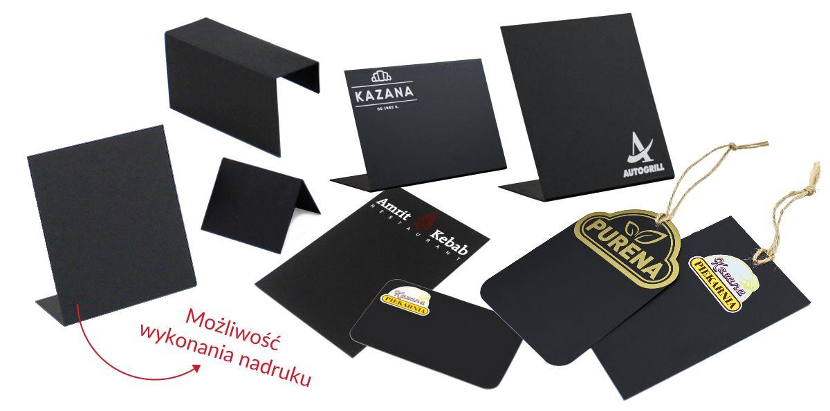 Etykiety czarne kredowe: stojaczki, na kosz, płaskie i ze sznurkiem. Czarne cenówki z własnym logo