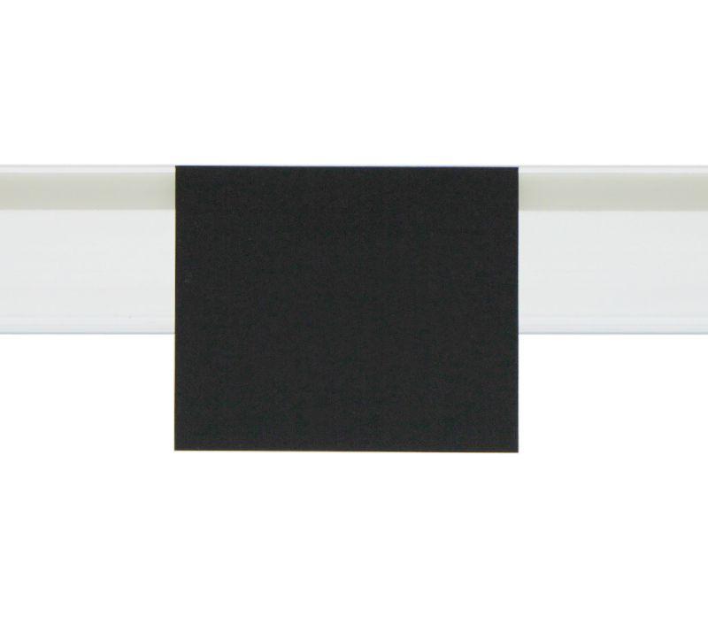 Zawieszki na listwy cenowe - czarne etykiety kredowe z zakładką do listew cenowych