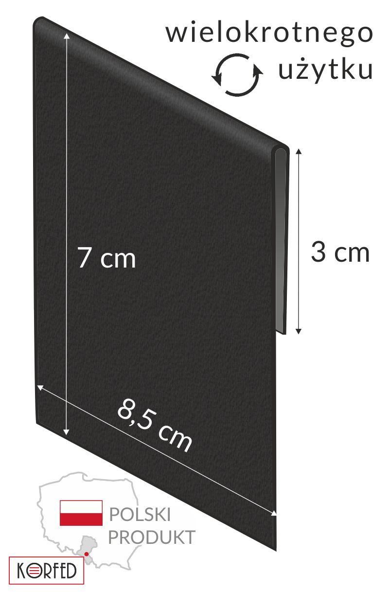 Czarne wkładki - etykiety cenowe z zakładką do wsuwania na listwy cenowe, stojaczki plastikowe, kartony, listwy przy półkowe