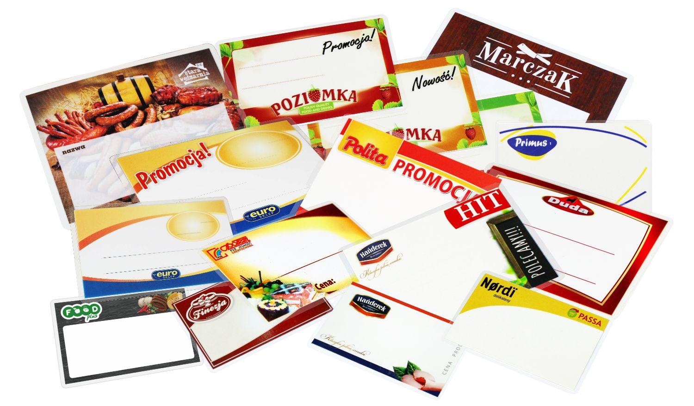 Materiały POS - cenówki / etykiety cenowe na zamówienie z indywidualną grafiką i logo.
