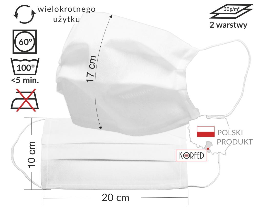Maseczki wielorazowe, dwuwarstwowe z włókniny medycznej - tkaniny PP polipropylowej, z gumkami