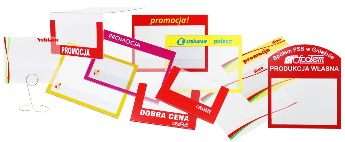 osłonki cenowe na zamówienie z nadrukiem, materiały POS - oprawki, przezroczyste kieszonki z logo