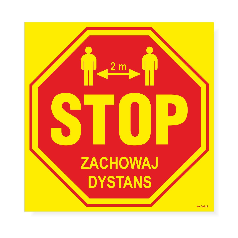 Nalepki - naklejki podłogowe znak STOP  oznakowanie zachowania dystansu / odległości podczas epidemii koronawirusa COVID 19