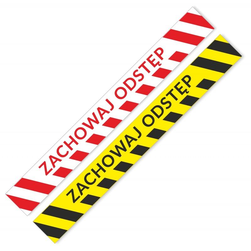 Naklejki podłogowe ZACHOWAJ ODSTĘP - pasy ostrzegawcze żółto-czarne, biało czerwone - samoprzylepne, bezpieczna odległość