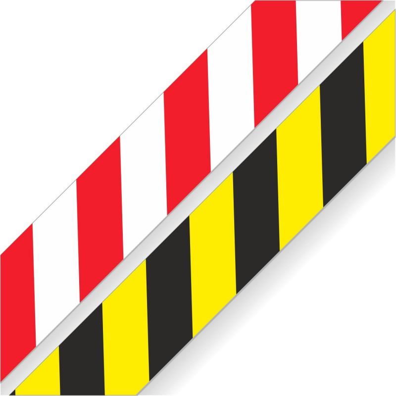 Etykiety samoprzylepne, naklejki podłogowe pasy żółto-czarne, biało-czerwone