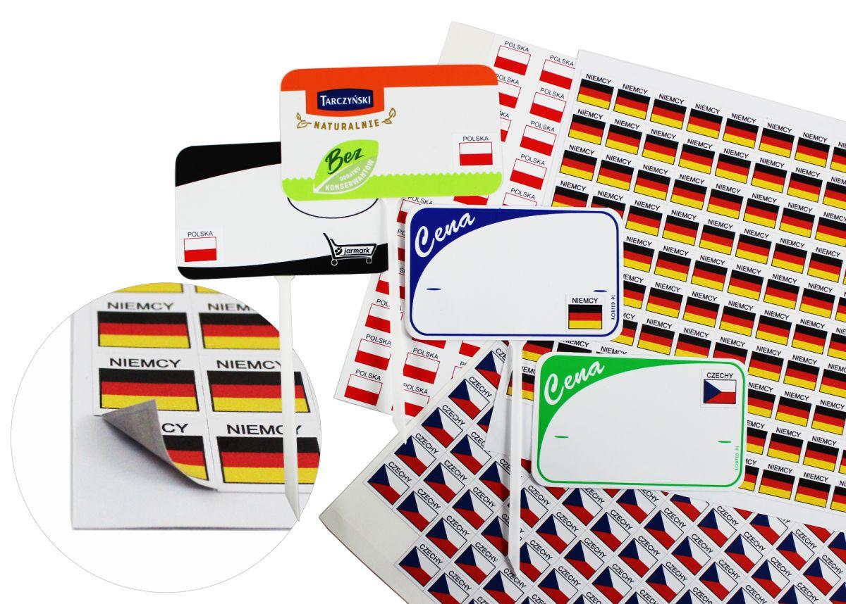 Naklejki flaga + nazwa Państwa, etykiety samoprzylepne do przyklejania e cenówki, etykiety, oznacz kraj pochodzenia