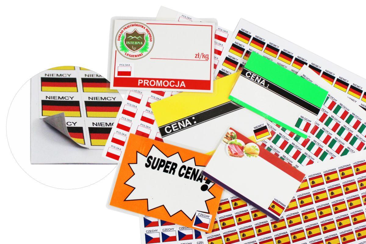 Naklejki - etykiety samoprzylepne z flagami krajów do przyklejania na cenówki i metki cenowe na mięso, wędliny, oznakowanie kraju pochodzenia