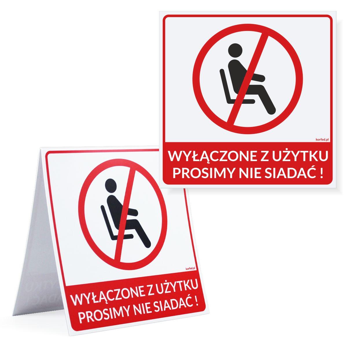 Naklejki - etykiety samoprzylepne oraz stojaczki plastikowe dwustronne na krzesła, miejsca siedzące w poczekalni, stadionie, auli - Zakaz siadania, miejsca wyłączone z użytku żeby została zachowana odległość - oznakowanie covid