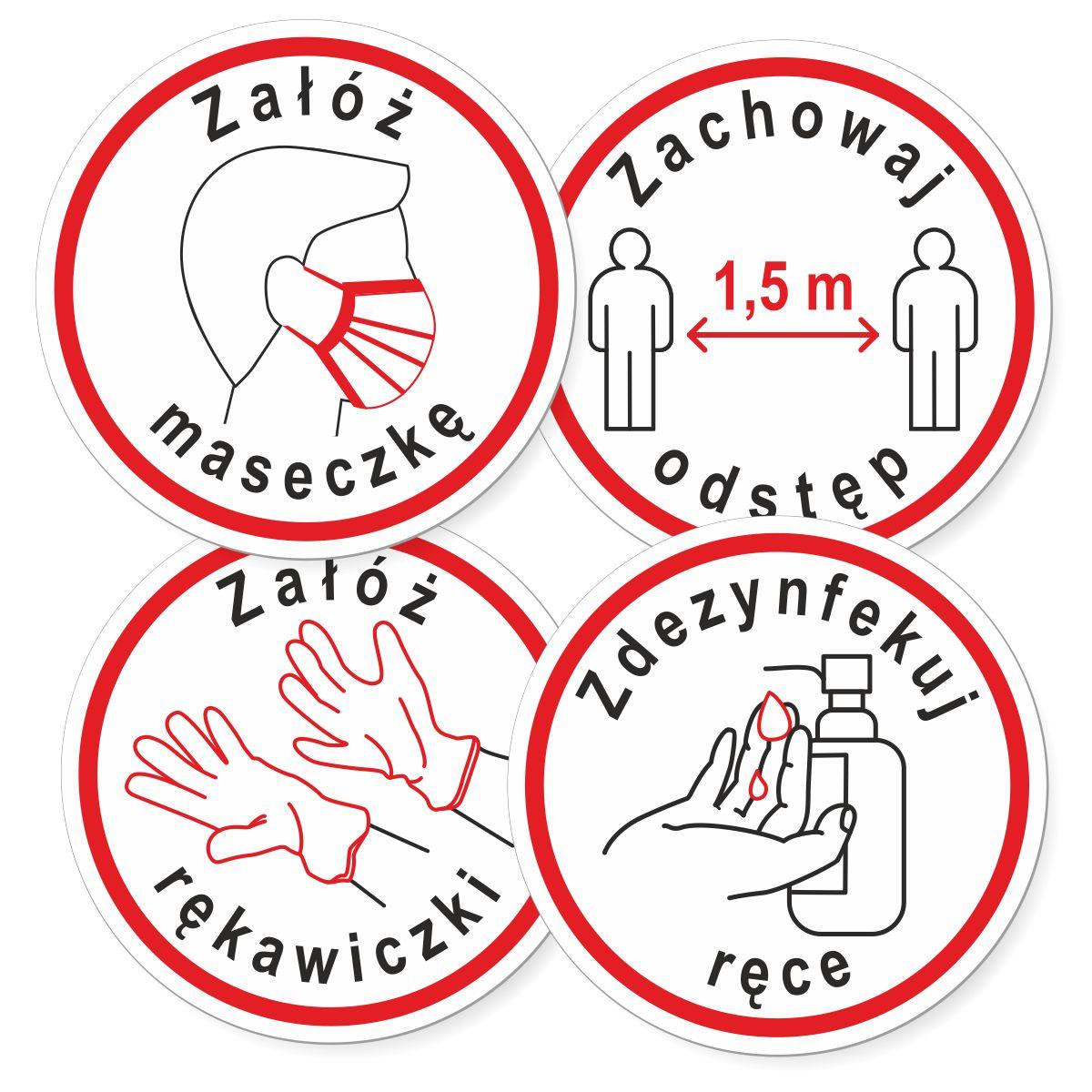 Wlepki oznakowania epidemiczne - przed wejście załóż maseczkę, zdezynfekuj ręce, zachowaj dystans, załóż rękawiczki. Wodoodporne naklejki na folii samoprzylepnej.