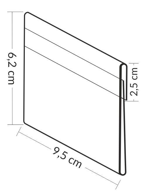 Osłonki cenowe na etykiety 9,5 x 6 cm z zakładką. Przezroczyste kieszonki zabezpieczają etykiety przed wilgocią i rozmazaniem.