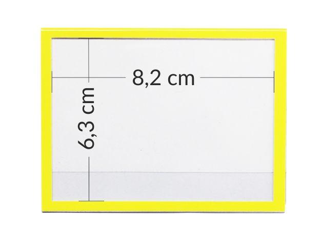 Oprawki - przezroczyste osłony na etykiety, na ceny z żółtą ramką