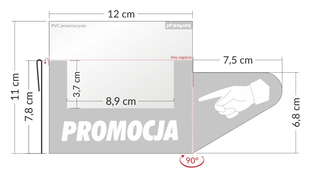 shelfstopper reklamowy wymiary - przezroczyste osłonki na listwy cenowe z rączką (łapką) stoppery