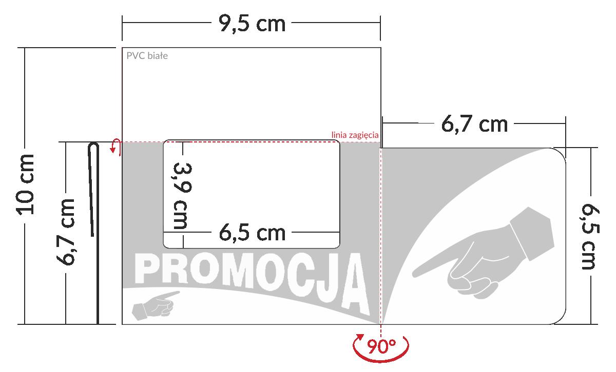 shelfstopper reklamowy wymiary - plastikowa nakładka na listwy z okienkiem na cenę i skrzydełkiem
