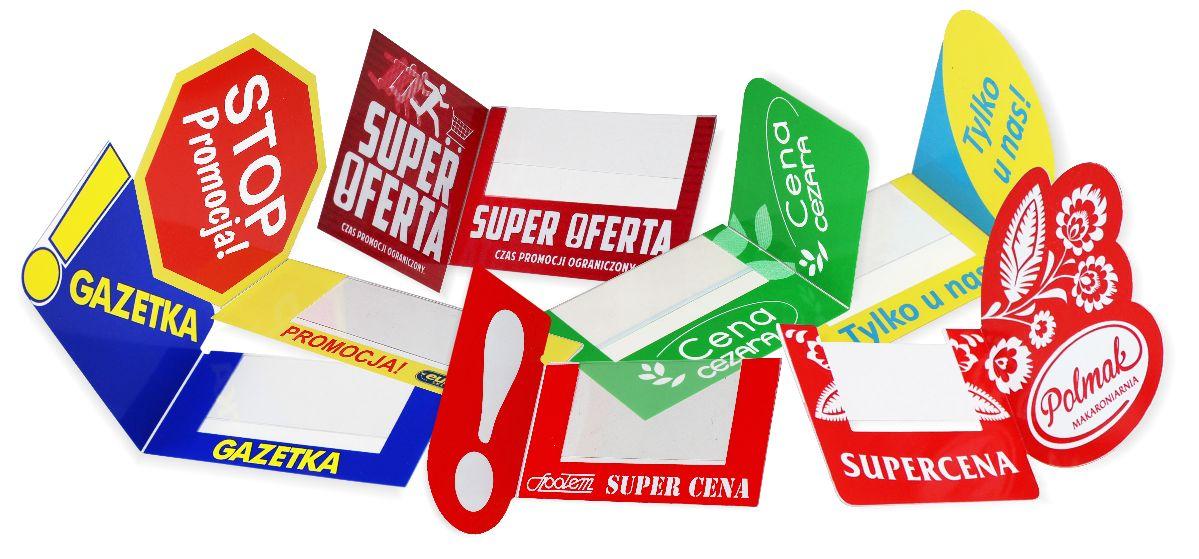 Materiały POS - shelfstoppery reklamowe, zawieszki na listwy, zatrzymywacze regałowe, stopery półkowe z indywidualną grafiką i logo.