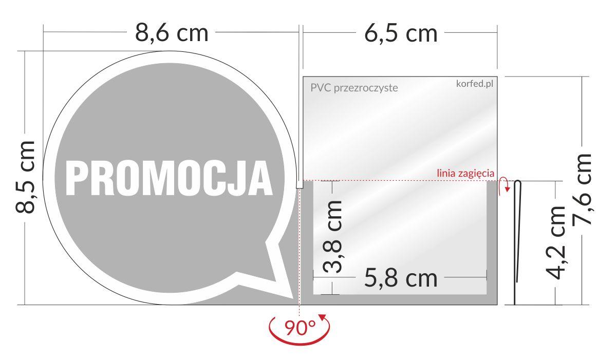 shelfstopper reklamowy wymiary - przezroczyste osłonki na listwy cenowe ze skrzydełkiem stoppery
