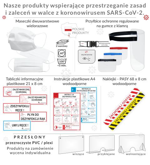 Produkty wspierające przestrzeganie zasad i zaleceń w walce z koronawirus SARS-CoV-2. Maeczki i przyłbice ochronne, tabliczki o dezynfekcji i myciu rąk oraz obowiązku zasłaniania ust i nosa, instrukcje mycia i dezynfekcji rąk, naklejki podłogowe pasy ostrzegawcze ZACHOWAJ ODSTĘP