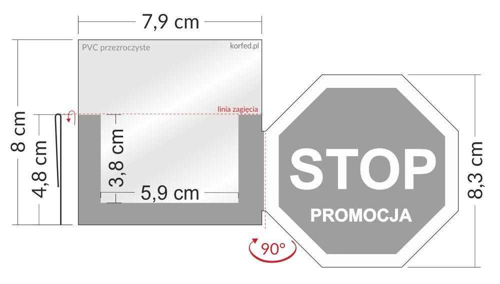 shelfstopper reklamowy STOP promocja wymiary - przezroczyste osłonki na listwy cenowe ze skrzydełkiem stoppery