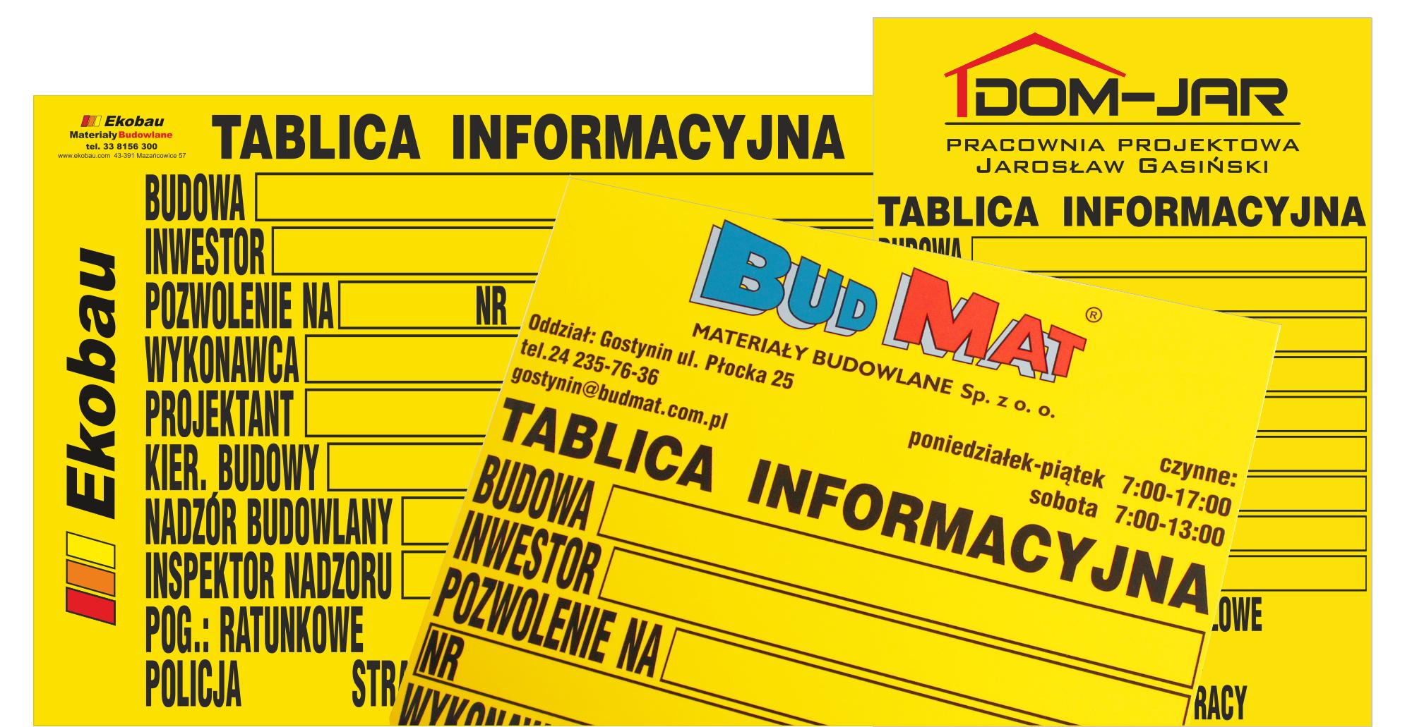 Tablice informacyjne - budowlane inwestorskie na zamówienie z logo firmy