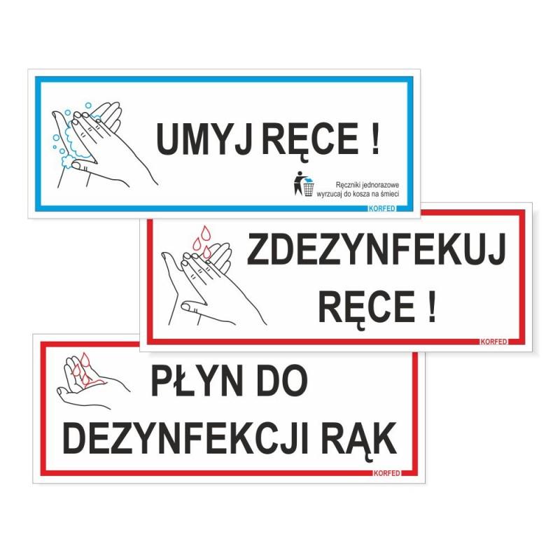Tabliczki plastikowe UMYJ / ZDEZYNFEKUJ RĘCE, PŁYN DO DEZYNFEKCJI, plakietki plastikowe, wodoodporne. Oznakowanie epidemiczne koronawirus COVID
