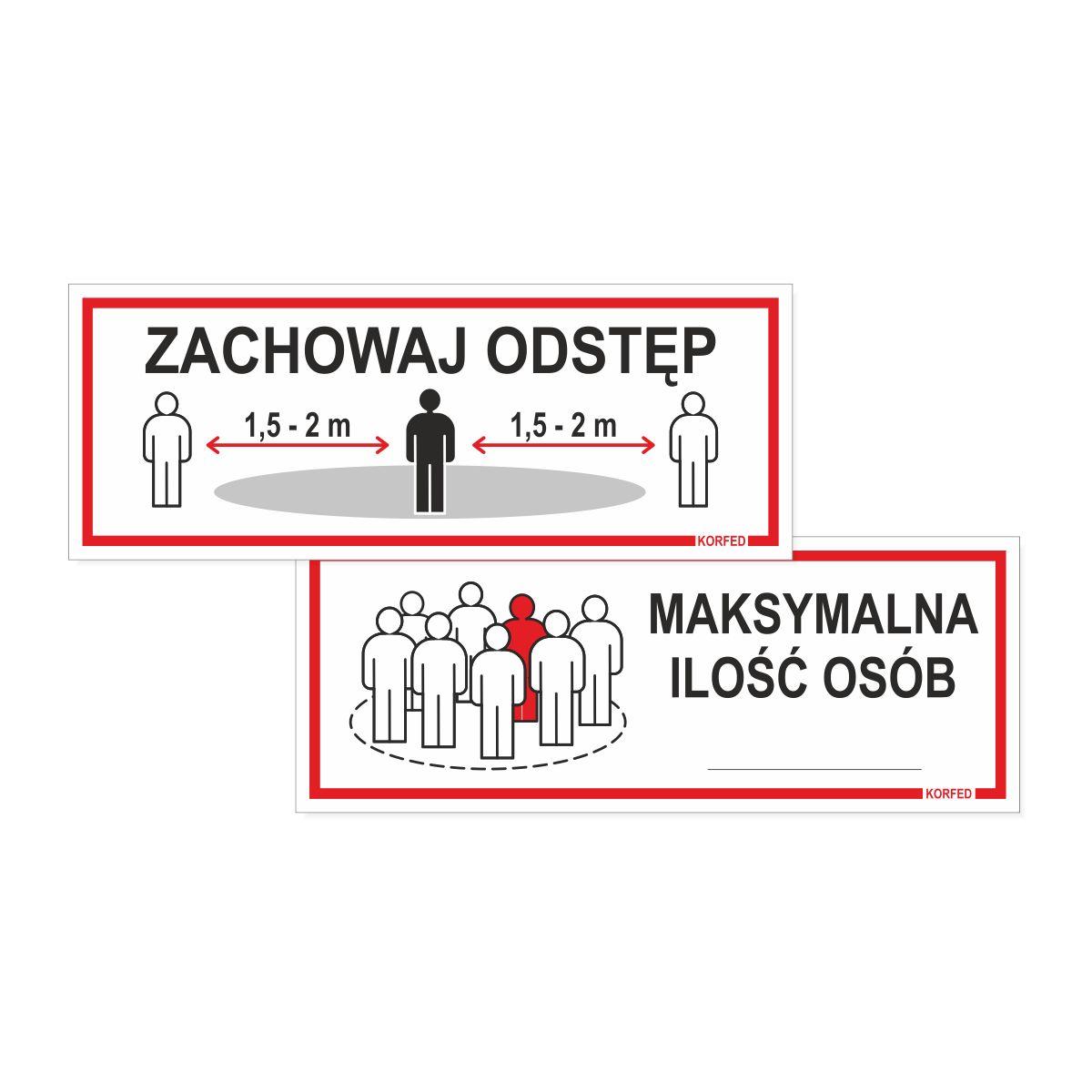 Oznakowanie epidemiczne covid19 - tabliczki plastikowe ZACHOWAJ ODSTĘP i MAKSYMALNA ILOŚĆ OSÓB - wodoodporne