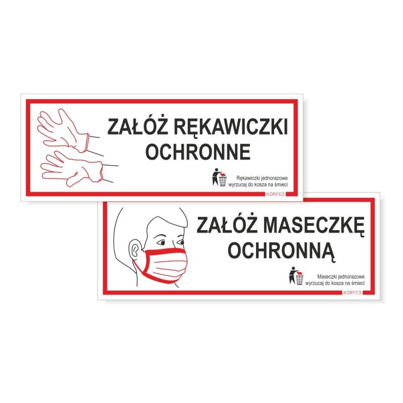 Tabliczki informacyjne nakazu - uwaga koronawirus - załóż rękawiczki ochronne, załóż maseczkę ochronną - zakryj nos i usta, plastikowe plakietki, wodoodprone